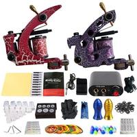 Professional Tattoo Kit Body Tattoo Art 2 Tattoo Gun Machine with Grips Needles LCD Black Power Units Body Art Sets TK201 39