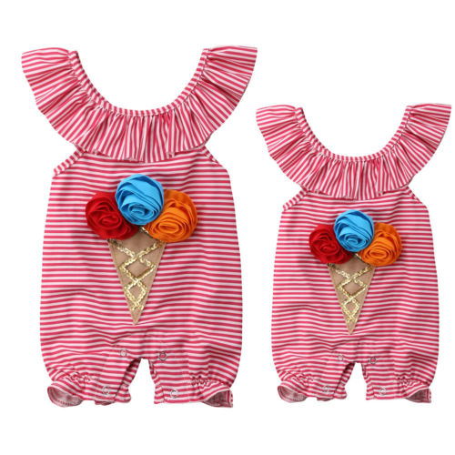 Cute Newborn Baby Girls 3D Flower Ice Cream Striped   Romper   Sleeveless Jumpsuit Sunsuit Outfit Clothes