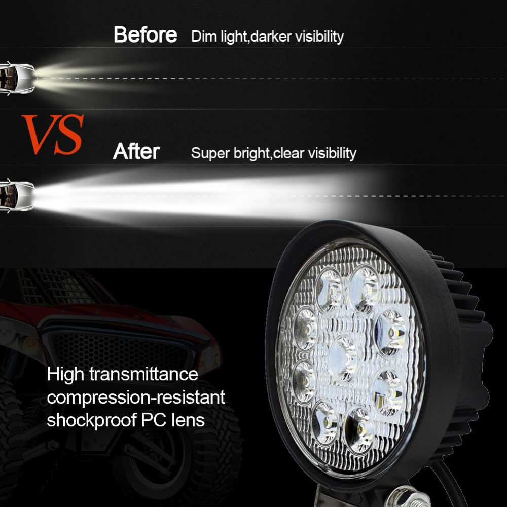Car Lights Racbox 4 Inch 4d 27w Led Work Lights Round Type 6500k Cold White 2100lm 12v 24v Car Tractor 4x4 Suv Atv 4 Led Work Driving Lamp Bright In Colour