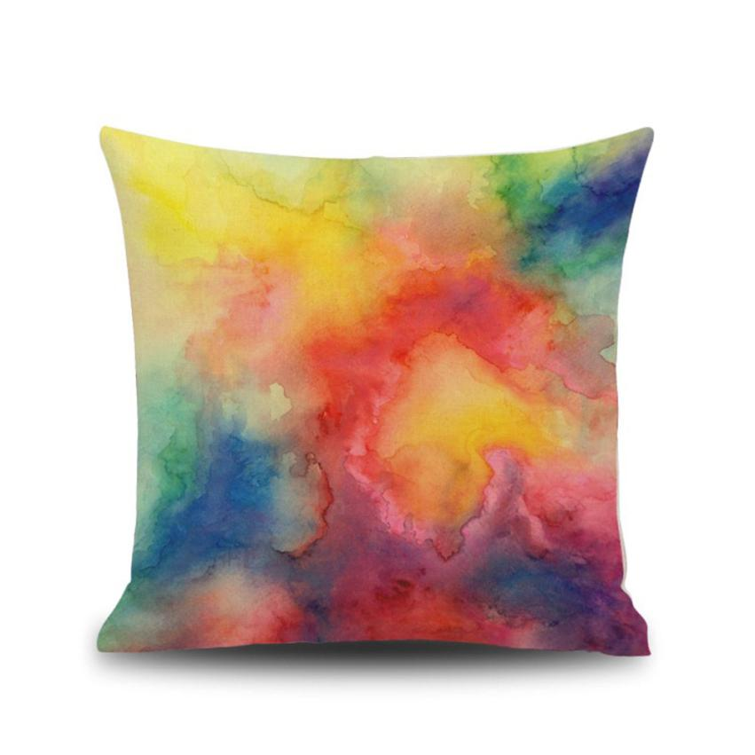 Ouneed Fresh Watercolor Painting Linen Cushion Cover Throw Pillow Sofa Home Decorative Home Office Hotel Car Use Cushion Cover