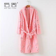 Autumn Winter Sleepwear for Women Flannel Robe Female Warm Thick Cute Night Gown Soft Home Clothing High Quality Women Bathrobe