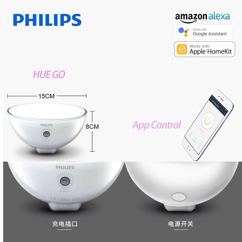 Philips Hue Go Lighting Compatible With Alexa Le Homekit And Google Istant 6w 100 240v Portable Dimmable Table Lamp