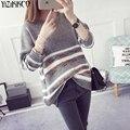 Suéter de las mujeres 2017 Nueva Primavera de La Moda de Punto Jerseys O-cuello de los Suéteres de Rayas de Alta Calidad Tire Femme Sweter Mujer SZQ118