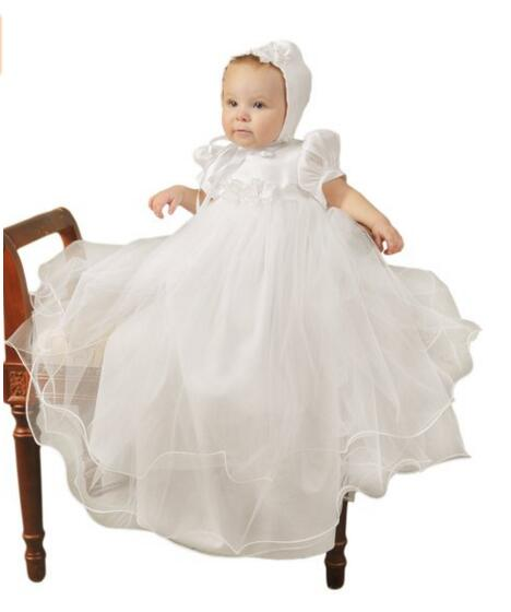 2016 Newborn Baby Girl Christening Dress White/Ivory Soft Baptism Gown Organza Robe Satin 0-24month WITH BONNET satin embroidered slip dress with robe