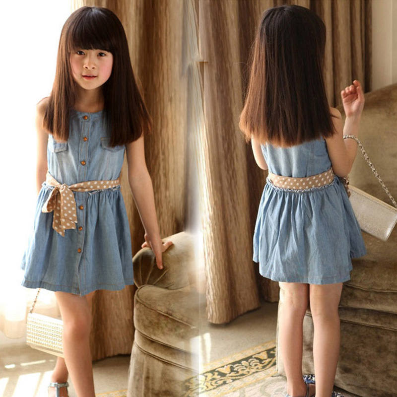 2016 girl dress with belt summer denim for girls brand kid jeans children dresses