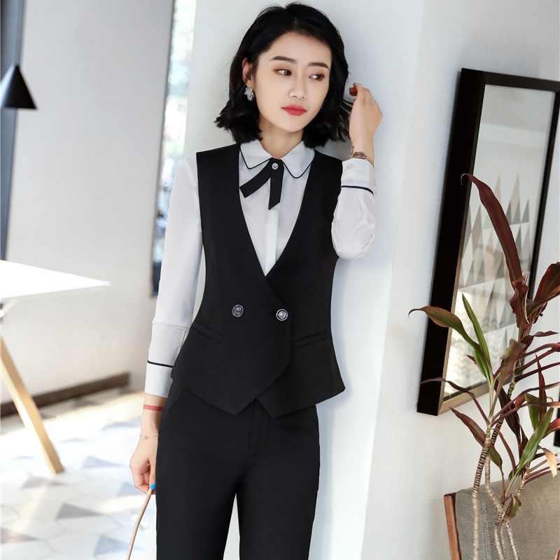c8579e5926f6 ... Formal Elegant Black Uniform Designs Pantsuits With Tops And Pants For Ladies  Office Vest Coat &