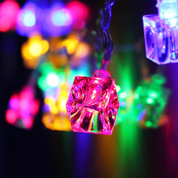 New Hot 20-LED 86inch Battery Operated Decorative Diwali Ice Cube String Lamp Fairy Lights Christmas Wedding Party Decorations image
