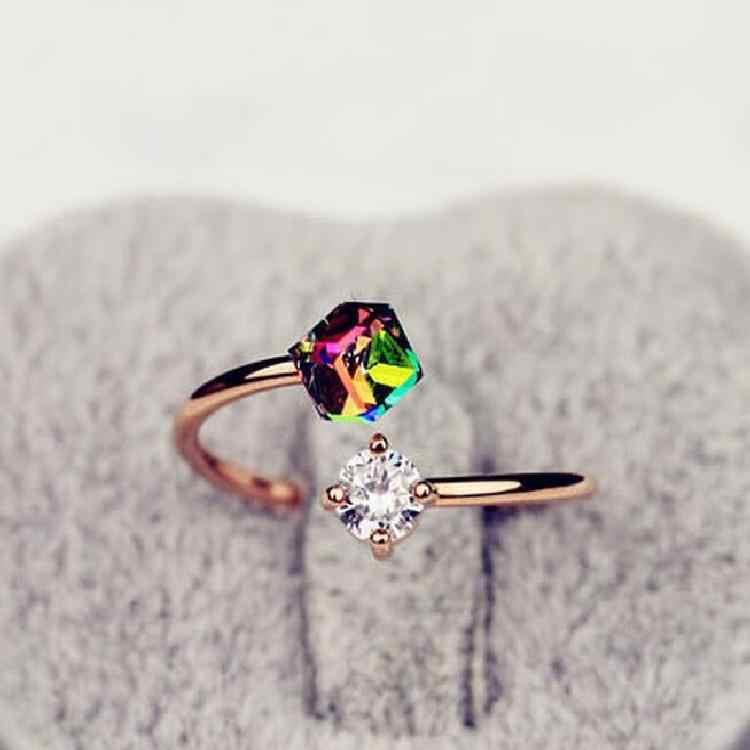 ¡Novedad de 2018! Elegante anillo de boda con diseño de marca a la moda de cristal austriaco infinito, anillos de regalo de San Valentín para mujer