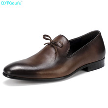 Luxury Fashion Mens Leather Dress Shoes Italian Oxfords Genuine Quality Cow Slip On Formal