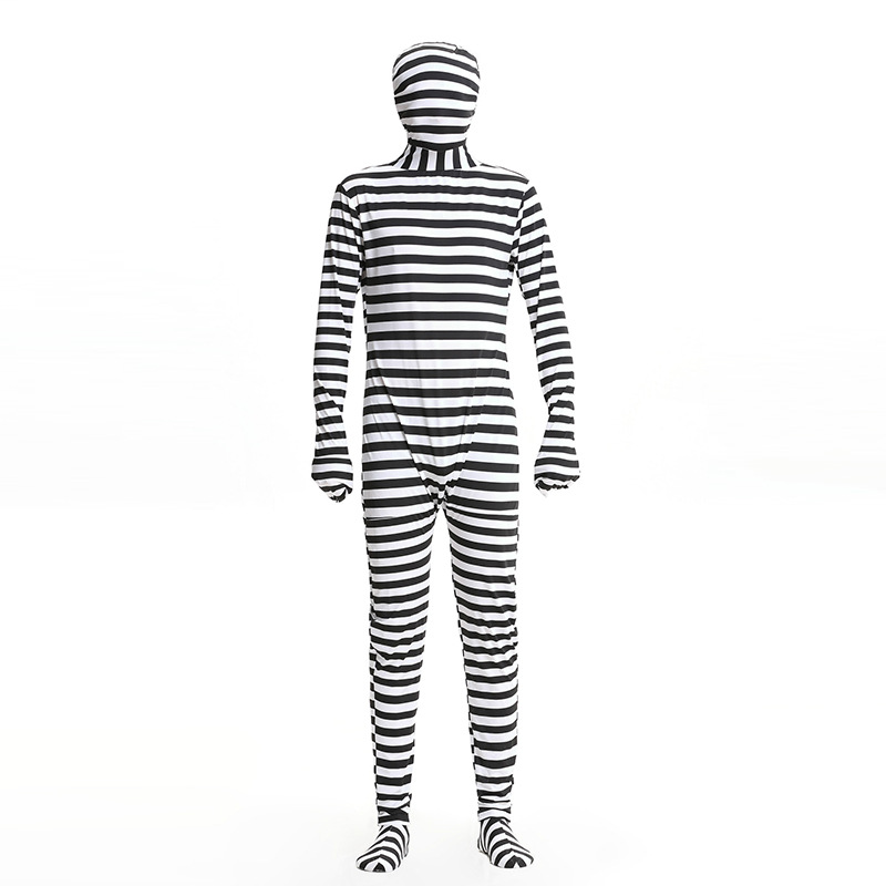 Halloween Cosplay Costumes Men Prisoner Cosplay Costumes Scary Masked Black And White Stripes Jumpsuit And Hat Costumes Set