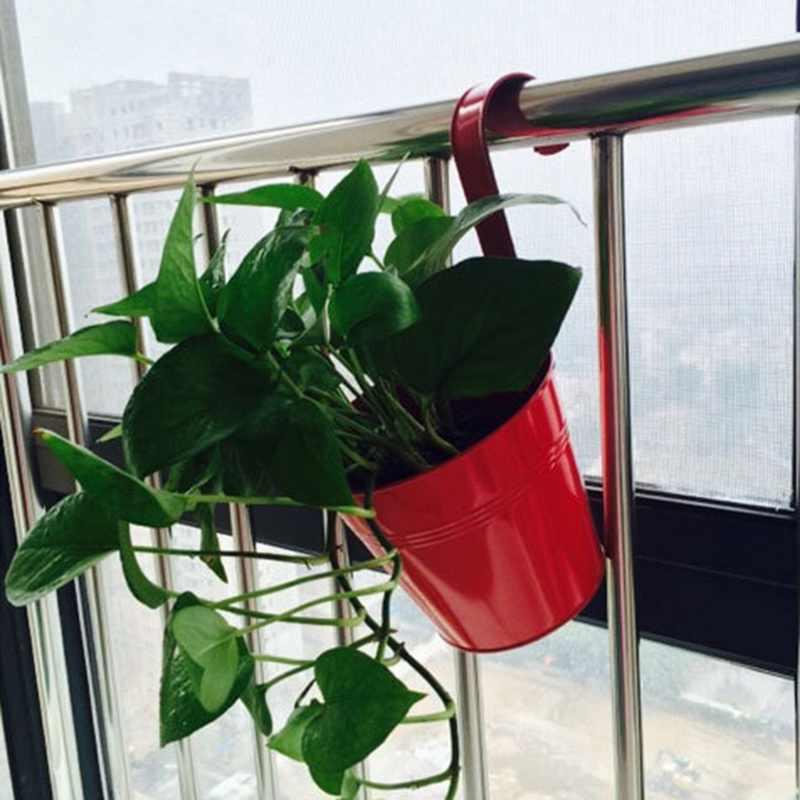 Z Tworzywa Sztucznego Wiszące Doniczki Wysokiej Jakości 10 Kolorów Doniczki Ogrodowe Balkon Donice Metalowe Wiadro Kwiat Posiadacze Home Decor