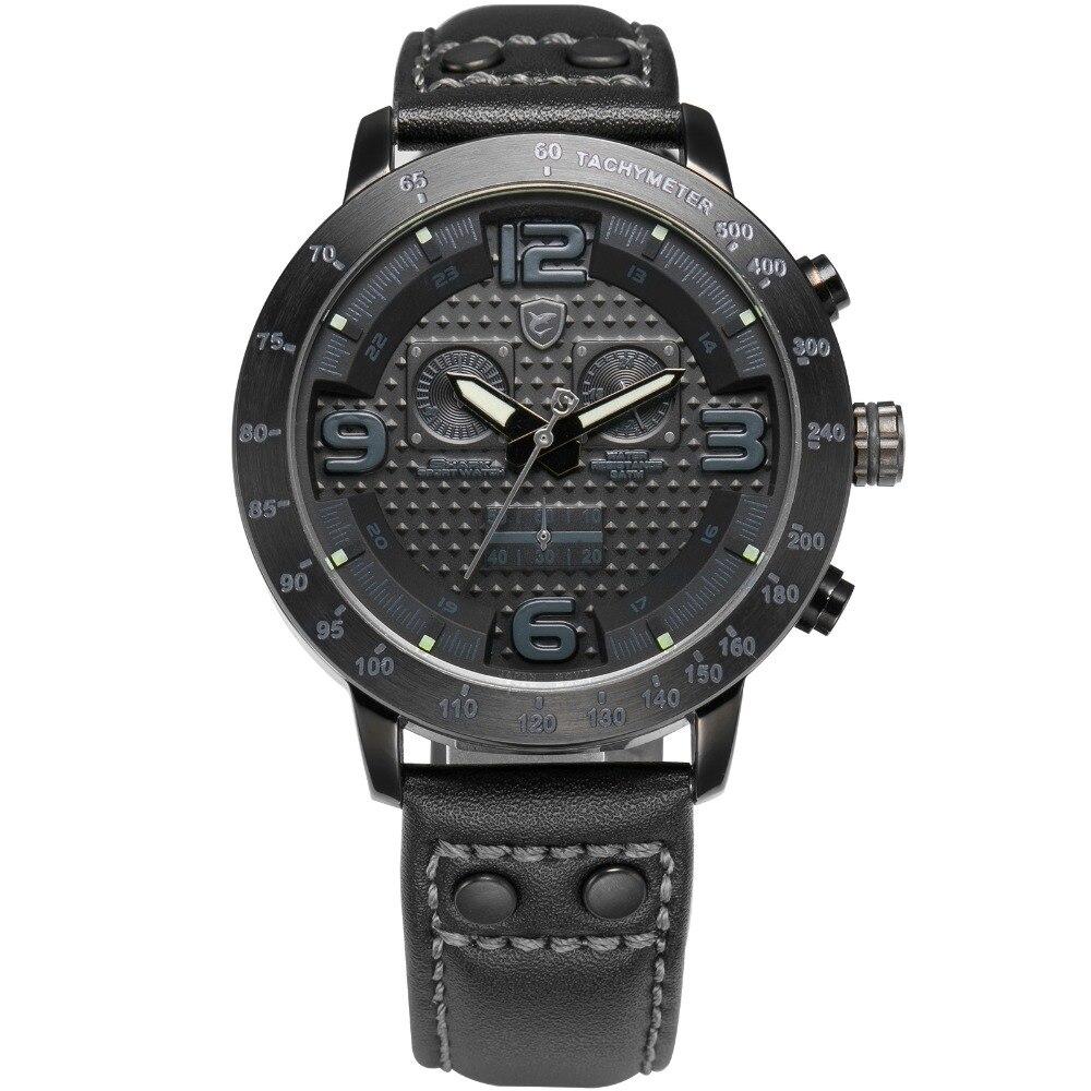 416ce1b8d99 Hot TUBARÃO Esporte Relógios Homens de Couro Genuíno Cinta Preta Branco  Display Analógico Cronógrafo Luxo Completa Aço Quartz Watch SH401