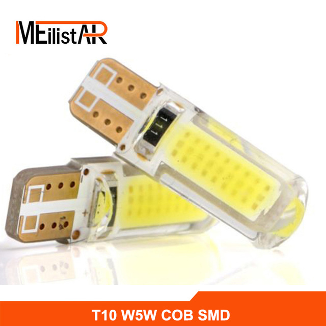 1x New Car LED T10 194 W5W COB+Silicone shell LED Lights Car Side Wedge Light Lamp Bulb White/Blue/Red/Pink Car-styling 10pcs 2watt car auto led t10 cob 194 w5w 1 led smd cob 6 chips wedge light bulb lamp blue white red green pink yellow ice blue
