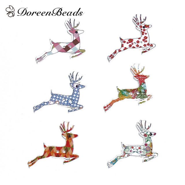 Doreenbeads Bois  Coudre Boutons  Trous De Nol Renne Motif