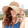Nuevo Verano de Las Mujeres de Playa Mujer Plegable de Paja Sombrero de Sol Sombreros de Playa Sombreros De Las Señoras Vestido de Las Mujeres de Ganchillo Sombreros Chapeu Feminino