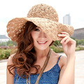 new Women Summer Beach Straw Sun Hat Sombreros de Playa Mujer Foldable Women Dress Hats Ladies Crochet Fedoras Chapeu Feminino