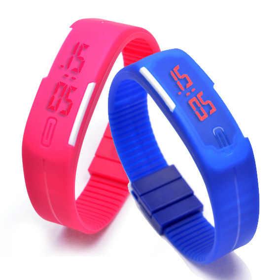2017 Nuevo diseño de moda reloj LED para mujer relojes deportivos silicona caramelo Multicolor pantalla táctil Digital hombre pulsera reloj de pulsera