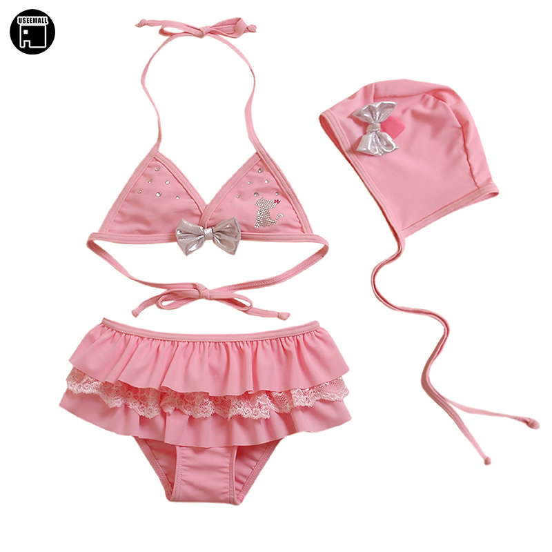 USEEMALL Children Swimwear Kids Summer Two Pieces Skirted Swimsuits Girl Bikinis Set Bikini Beach Wear Summer Swimsuit for Girls two tone backless skirted tankini set