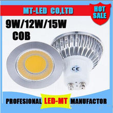 Led licht 9 w 12 w 15 cob mr16 gu10 gu5.3 led dimmen sportlight lâmpada de alta potência mr16 12 v gu10 gu5.3 ac 110 v 220 v