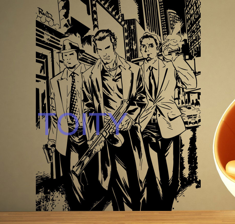 online buy wholesale bad boy art from china bad boy art gangster bandit wall sticker mob gang vinyl decal comics bad guys boy room decor art creative