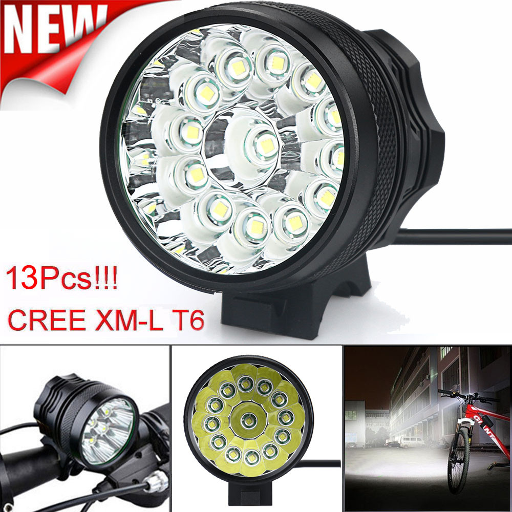flashlight for bicycle battery headlight 32000 Lm 13x CREE T6 LED 3 Modes Bicycle Lamp Bike Light Headlight Cycling Torch 3800 lumens cree xm l t6 5 modes led tactical flashlight torch waterproof lamp torch hunting flash light lantern for camping z93