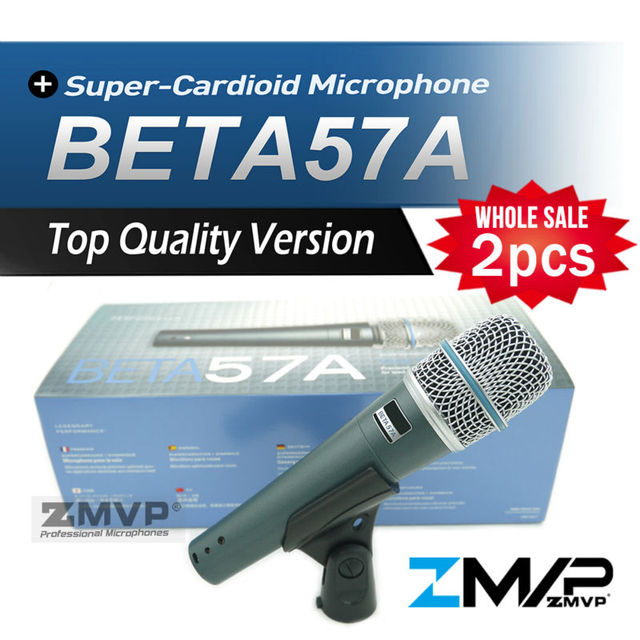 Free Shipping! 2pcs Top Quality Version BETA57 Professional BETA57A Karaoke Handheld Dynamic Wired Microphone Beta 57A 57 A Mic