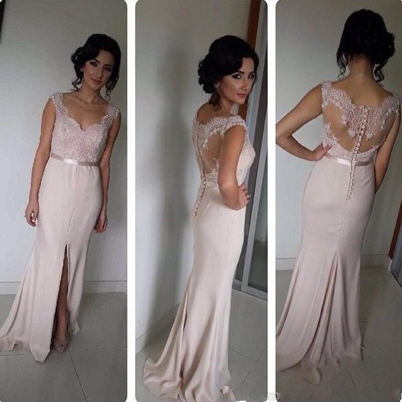 48a240ddf Larga de Encaje Sexy Sirena Vestidos de Boda Largo de dama de Honor Criada  de Las Novias País Occidental Vestidos de dama de Honor Vestidos  bruidsmeisjes ...