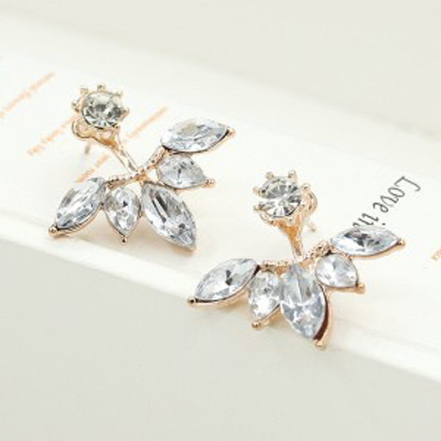 XXZHJ The New Fashion Crystal Earrings Statement Horse Eye Blossom Daisy Upper And Lower Sections Of Women Earrings For Women