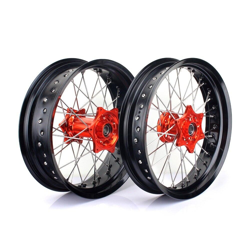 BIKINGBOY 17*3.5 17*5.0 Supermoto Jantes Moyeux pour KTM EXC-F450 03-15 EXC-F500 10-15 EXC-F 250 07-15 EXC-F 350 12-15 14 13 12