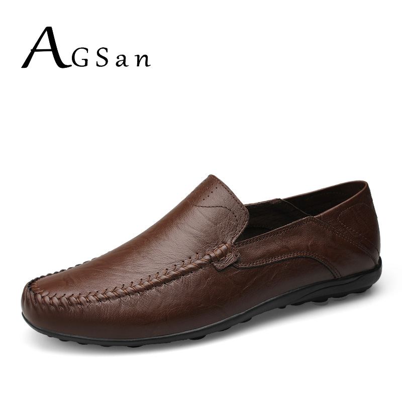 AGSan plus size 47 46 genuine leather shoes men driving loafers brown 11 10.5 italian design handmade moccasins homme mocasines xx brand 2017 genuine leather men driving shoes summer breathable loafers comfortable handmade moccasins plus size 38 47 footwea