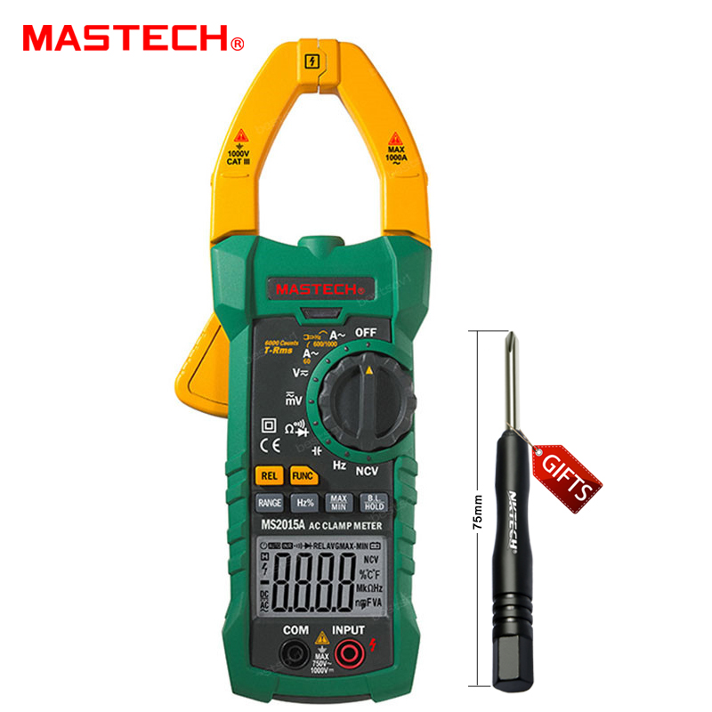 MASTECH MS2015A AutoRange Digital AC 1000A Current Clamp Meter True RMS Multimeter Frequency Capacitance Tester NCV mastech ms8250c autoranging digital multimeter true rms low pass filtering 6600 d a display ncv usb data transmission