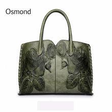 Osmond 2018 bolsos de cuero genuinos para las mujeres Flor en relieve Bolsa Messenger