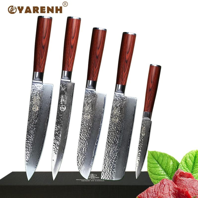 YAREH professionnel couteau de cuisine ensemble 5 pcs japonais damas couteau de cuisine en acier ensembles bonne sharp Uility Couperet Santoku couteau ensemble