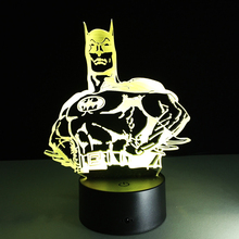 Hot sale Batman Colorful gradient 3D night light Creative remote control or touch switch night light LED Atmosphere lamp