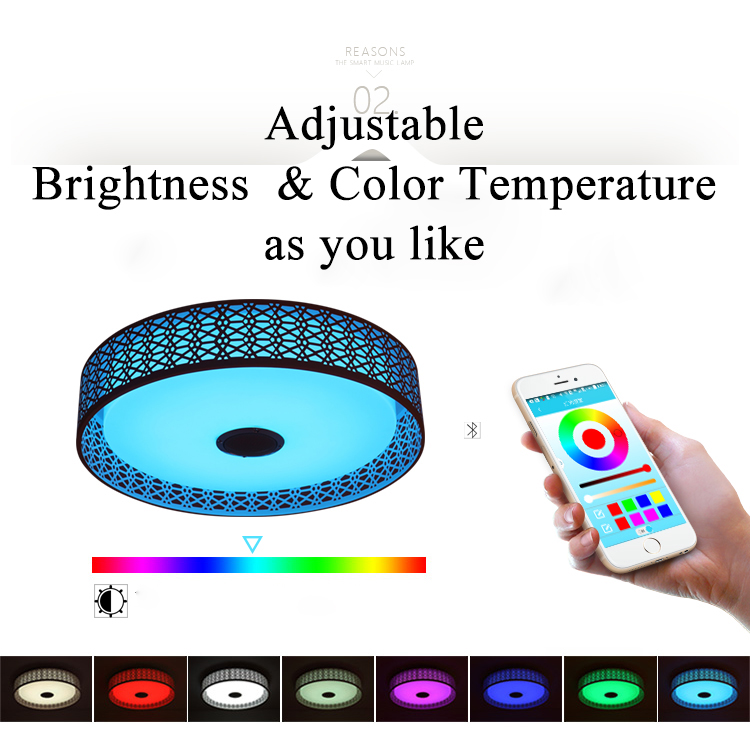 RGB Modern LED Ceiling Light With Bluetooth APP Control Color Changing White Music Lamp Ceiling Lamp Led Lustres D47cm AC85-260V