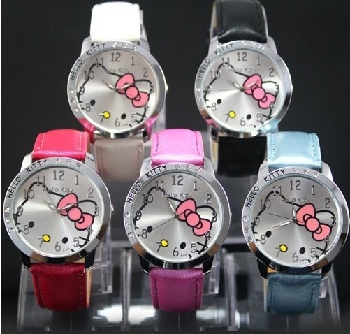 kitty watch items cartoon belt watch fashion designer new products women leather watches children's hours gift free shipping