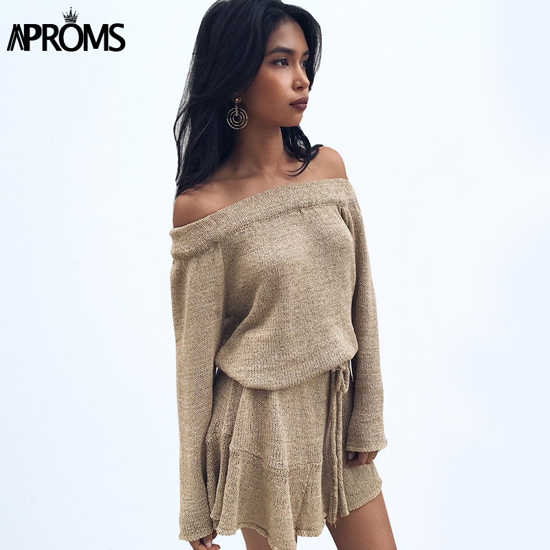 Aproms Sexy Off Shoulder Knitted Sweater Dress Women ...