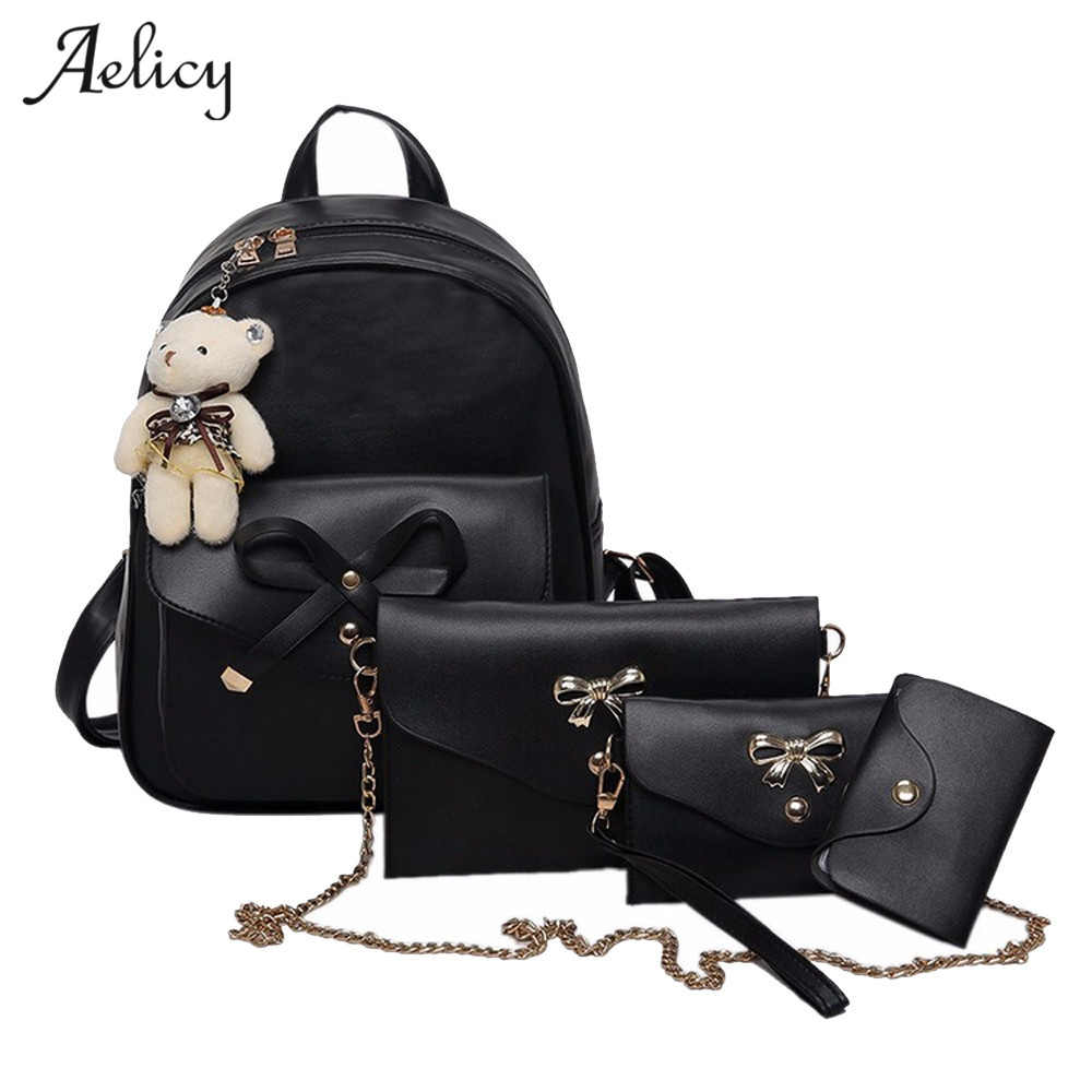 Aelicy Women Four Sets Backpack Shoulder Bags Four Pieces Tote Bag Crossbody Rugzak Preppy Style Backpacks Mochila Escolar 0906