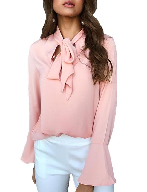 b0622c82a2b9 Mulheres moda Casual Camisa Blusa Decote Em V manga Alargamento de Manga  Comprida Workwear Outono Gravata