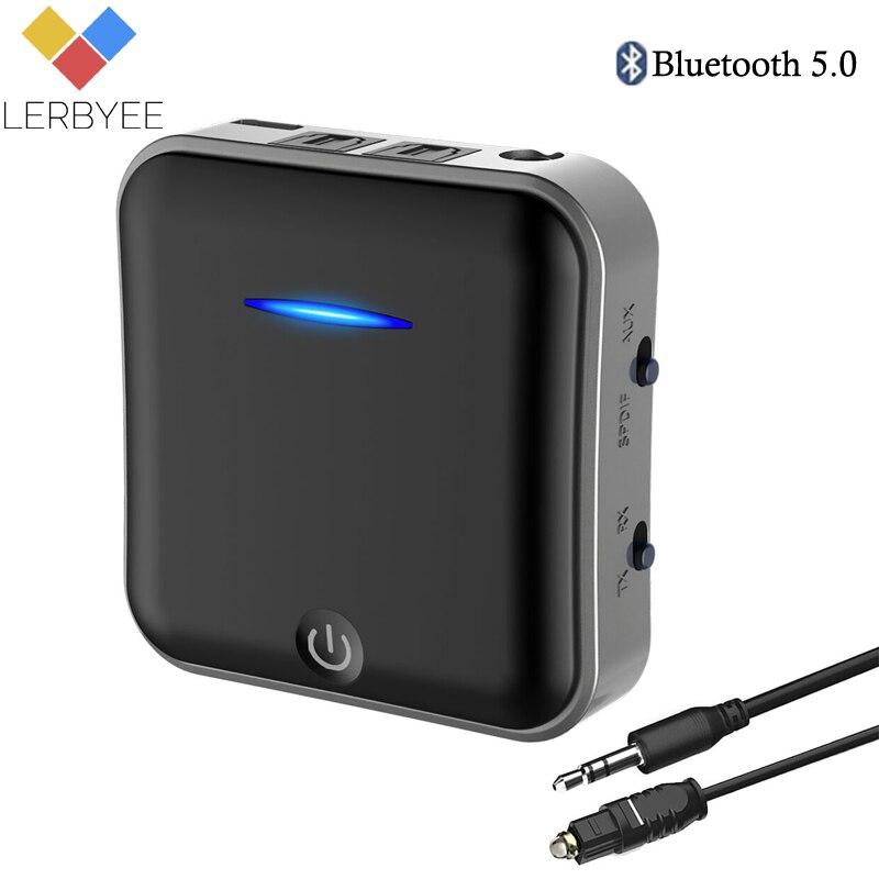 Lerbyee Ricevitore Audio Bluetooth 5.0 Trasmettitore 3.5 m Wireless Adattatore Audio Digitale Ottico Toslink/SPDIF mini per la TV Cuffia
