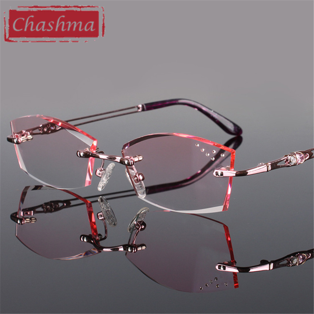 Chashma Pure Titanium Fashionable Lady Eye Glasses Diamonds Rimless Spectacle Frames Women