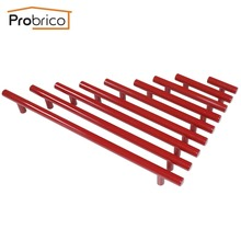 Probrico Red Stainless Steel Diameter 12mm Hole Center 50mm~256mm Kitchen Cabinet T Bar Door Knob Furniture Drawer Handle Pull