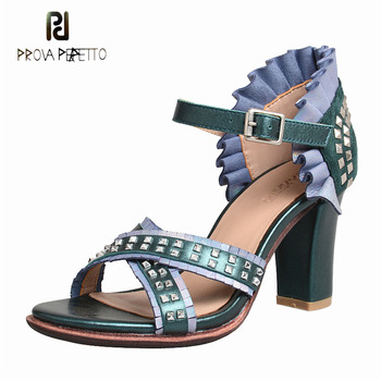 Prova Perfetto rivet mixed color genuine leather high heel sandal women ruffles open toe chunky heel gladiator sandal summer new