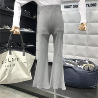 knit flare pants female 2019 New Fashion summer women's pants High waist slim Trousers casual pantalones mujer