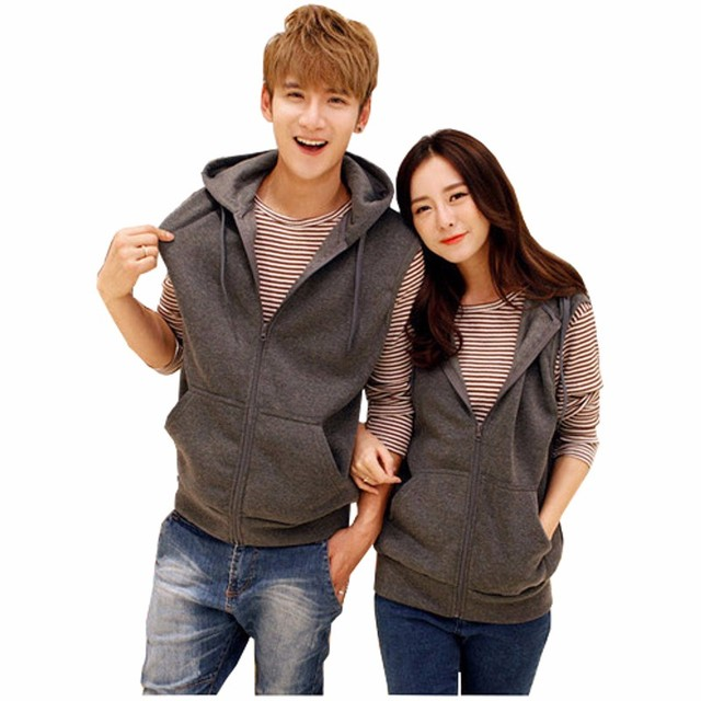 Plus Size 2017 New Spring Autumn Fashion Vest Coat Men Women Zippers Sleeveless Jackets Couples Hooded Pockets Vest Cardigan
