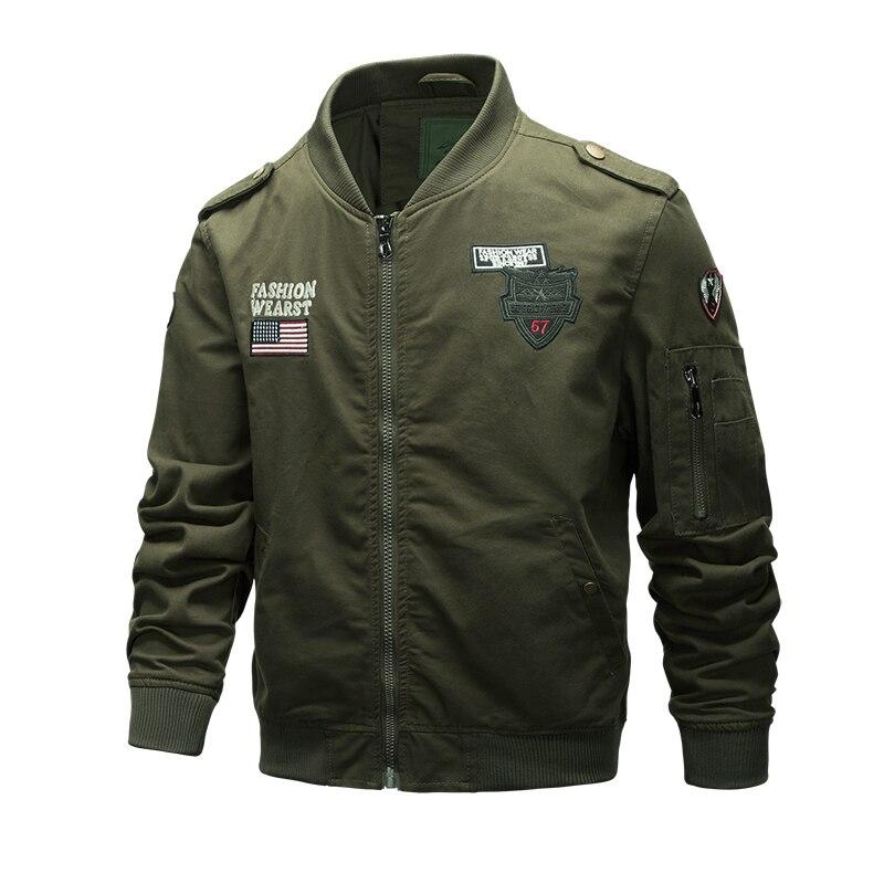 2018 new winter cotton plus velvet warm men's slim jacket Military plus velvet jacket Pilot fashion cool warm men's casual tops