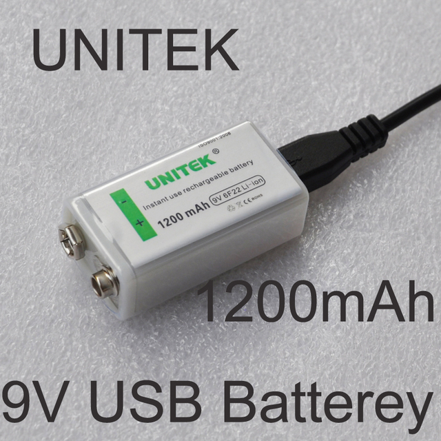 unitek usb 9v rechargeable battery 1200mah 6f22 lithium ion li ion cell for wireless microphone. Black Bedroom Furniture Sets. Home Design Ideas