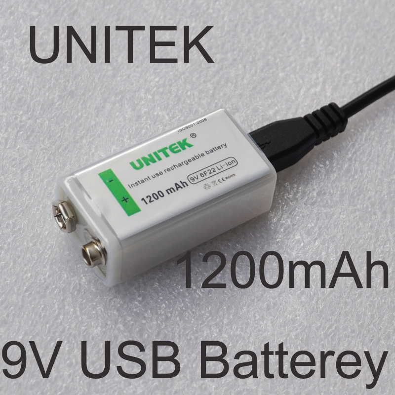UNITEK USB 9V rechargeable battery 1200mAh 6F22 lithium ion li ion cell for wireless microphone Guitar EQ smoke alarm multimeter