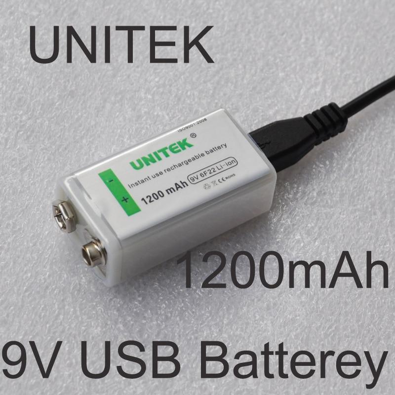 UNITEK USB 9V rechargeable battery 1200mAh 6F22 lithium ion li ion cell for wireless microphone Guitar EQ smoke alarm multimeter