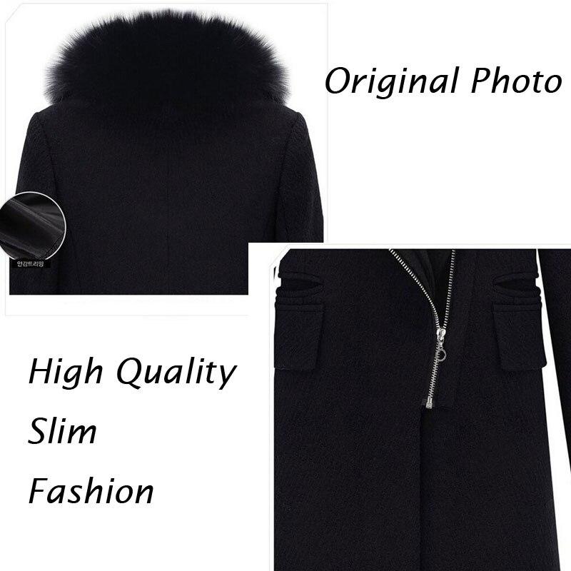 Winter Schwarz Faux Pelzkragen Mantel Jacke Frauen 2019 Neue Mode - Damenbekleidung - Foto 5